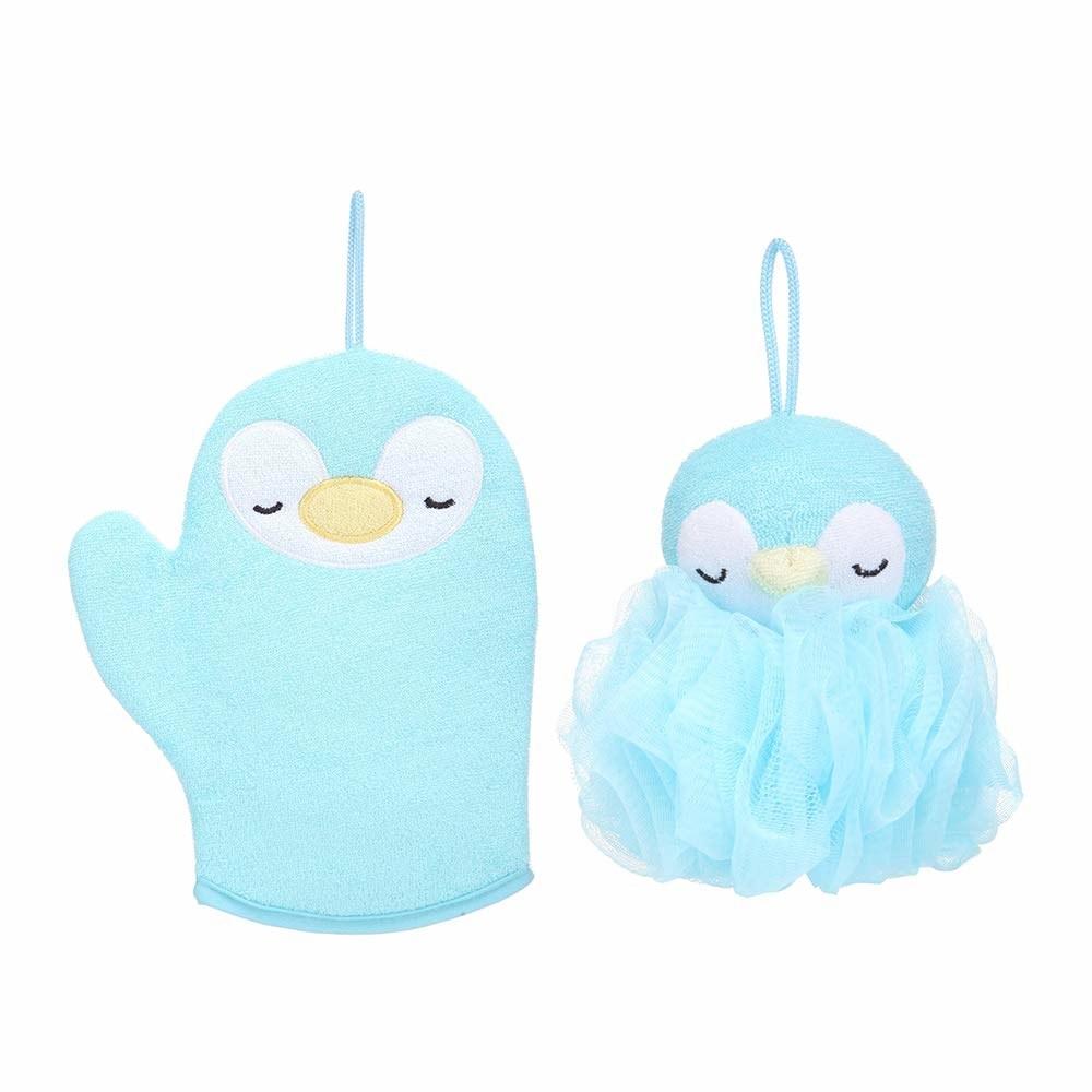 Blue penguin bath set
