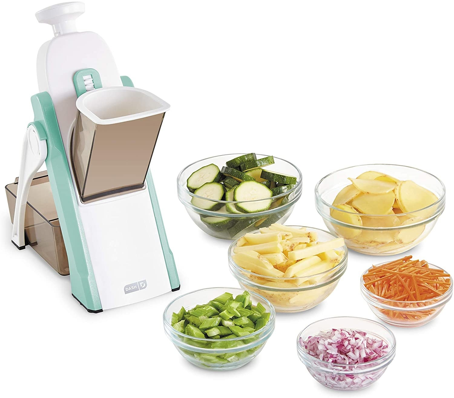 An aqua mandoline-style veggie slicer with six bowls of chopped vegetables next to it