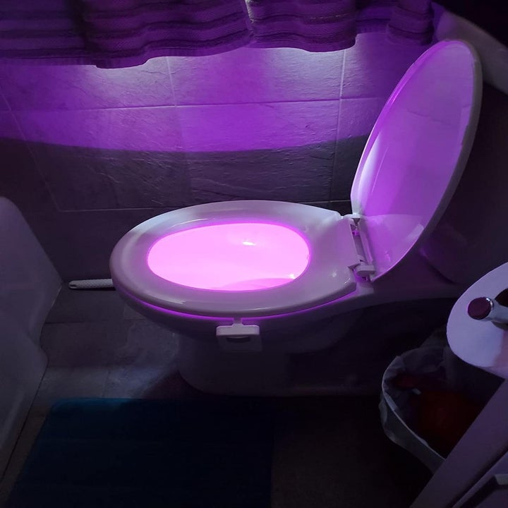reviewer's toilet light glowing in purple
