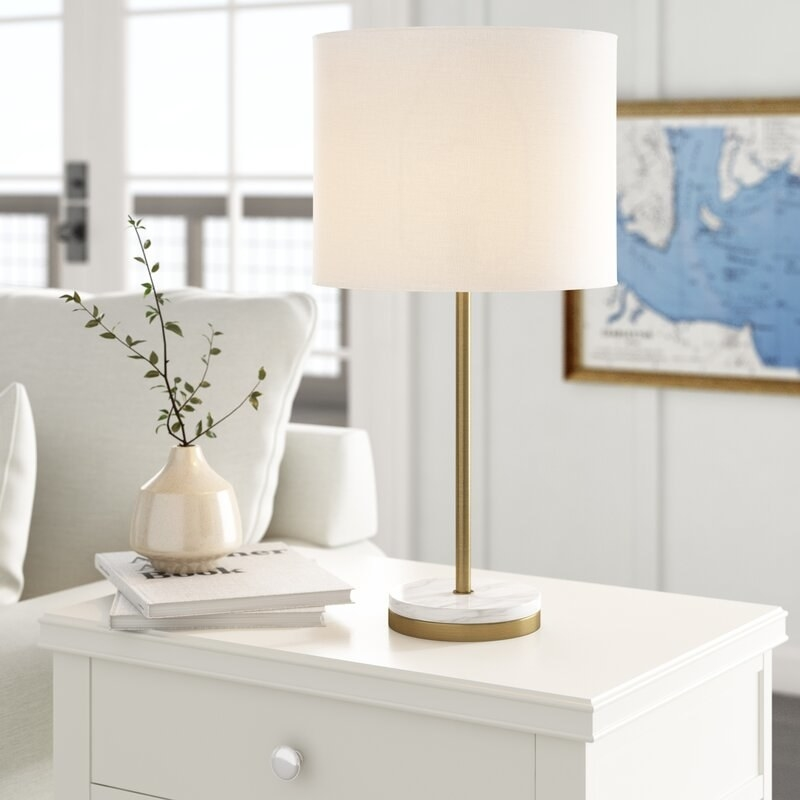 Marble and gold table lamp