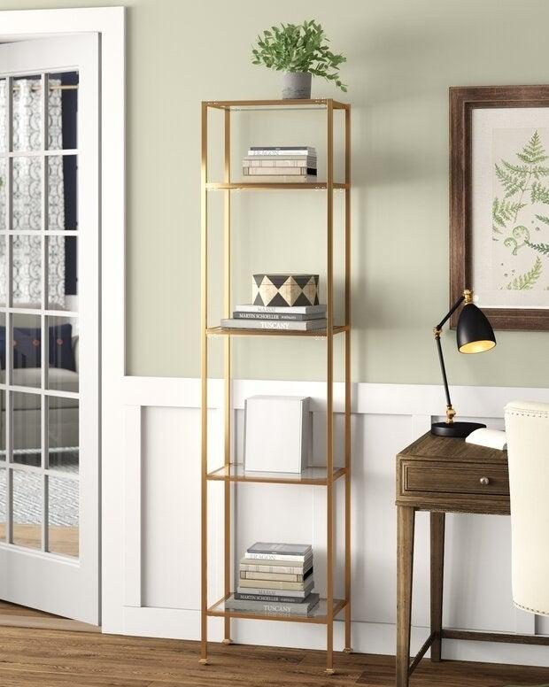 Gold bookcase