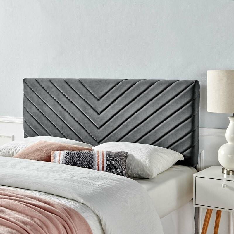 Charcoal upholstered headboard