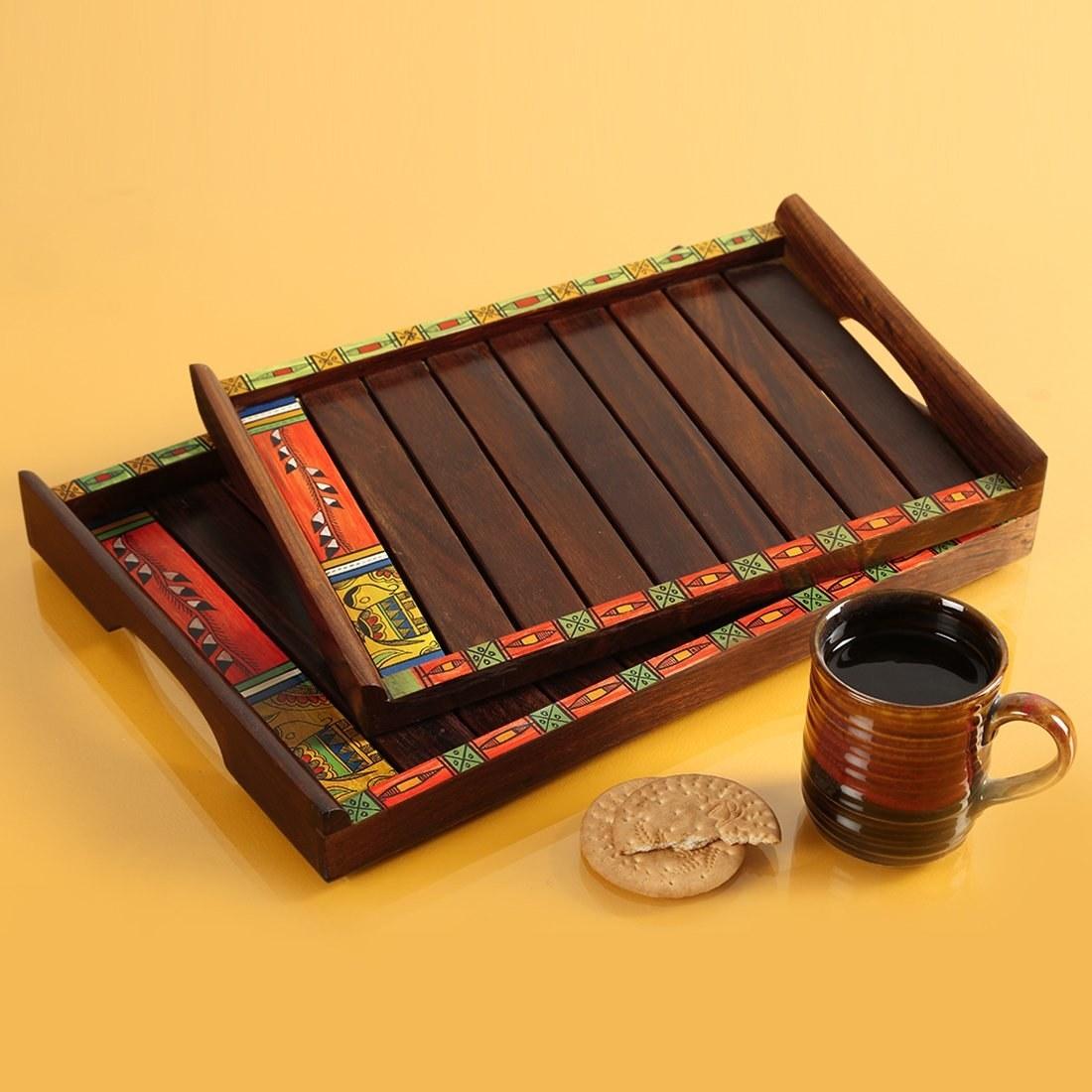 A Madhubani serving tray set