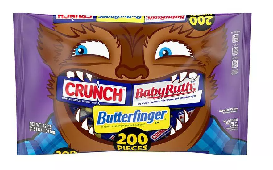 A bag of Butterfingers, Baby Ruth, & Crunch Halloween Chocolate Minis Mix