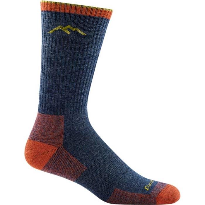 A denim-red hiker boot cushion sock
