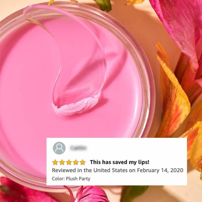 """the pink lip balm with reviewer text that says """"this has saved my lips"""""""