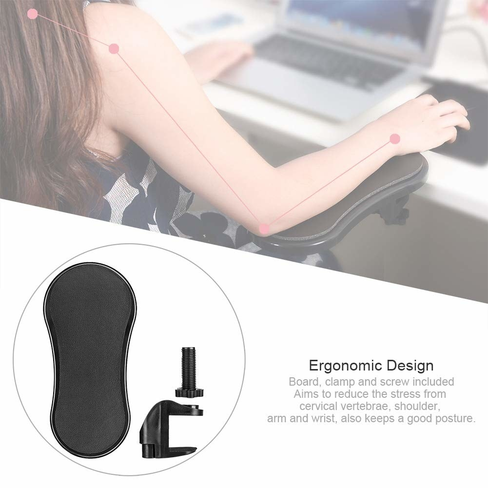 A woman with her arm kept on the armrest while she's working, with an explanation below describing the armrest's ergonomic design.