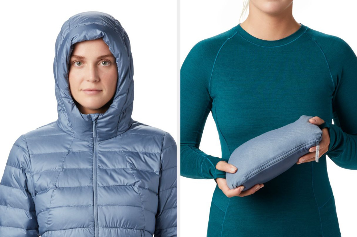 Split image of model wearing light zinc hoody jacket and jacket folded for storage