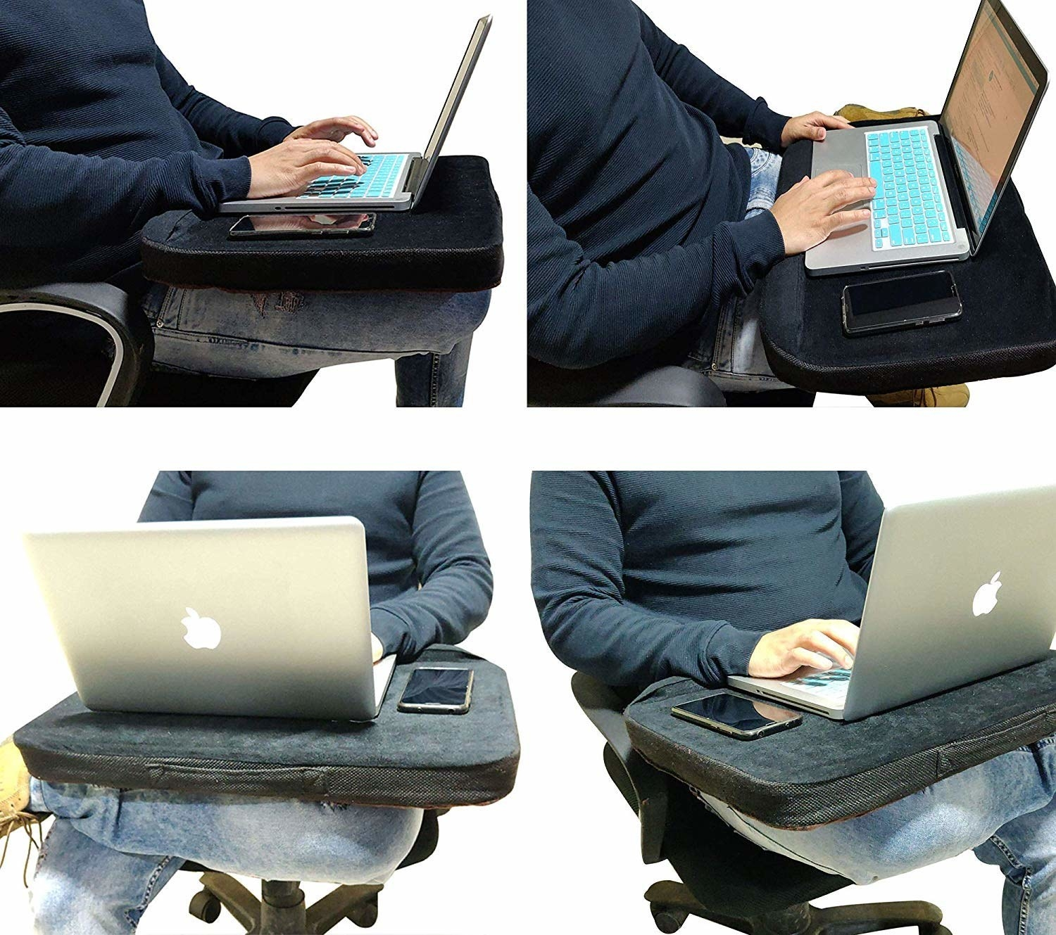 Various angles of a person working on their laptop, kept on their lapdesk.