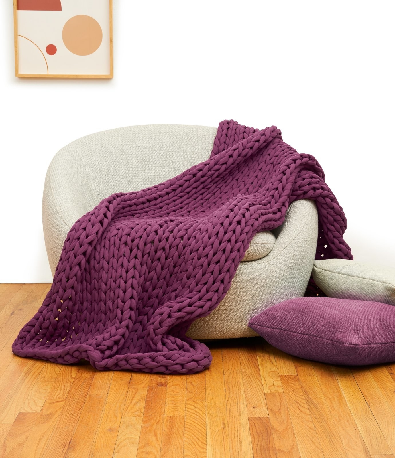 The chunky knit blanket in purple