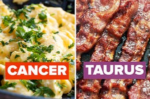 A plat of scrambled eggs on the left with cancer written over it and a plate of sizzling bacon on the right with taurus written over it