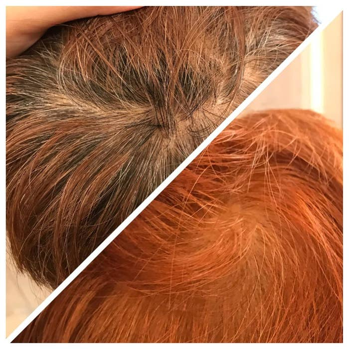 A reviewer's before and after pics where in the before their hair is dark brown and in the after it is vibrant copper