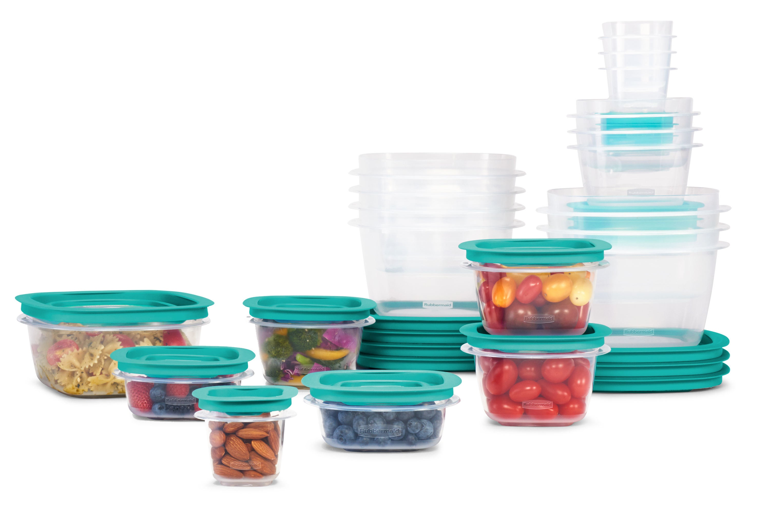a 42 piece set of rubbermaid food storage containers with teal lids