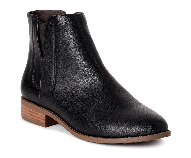 one black vegan leather Chelsea boot