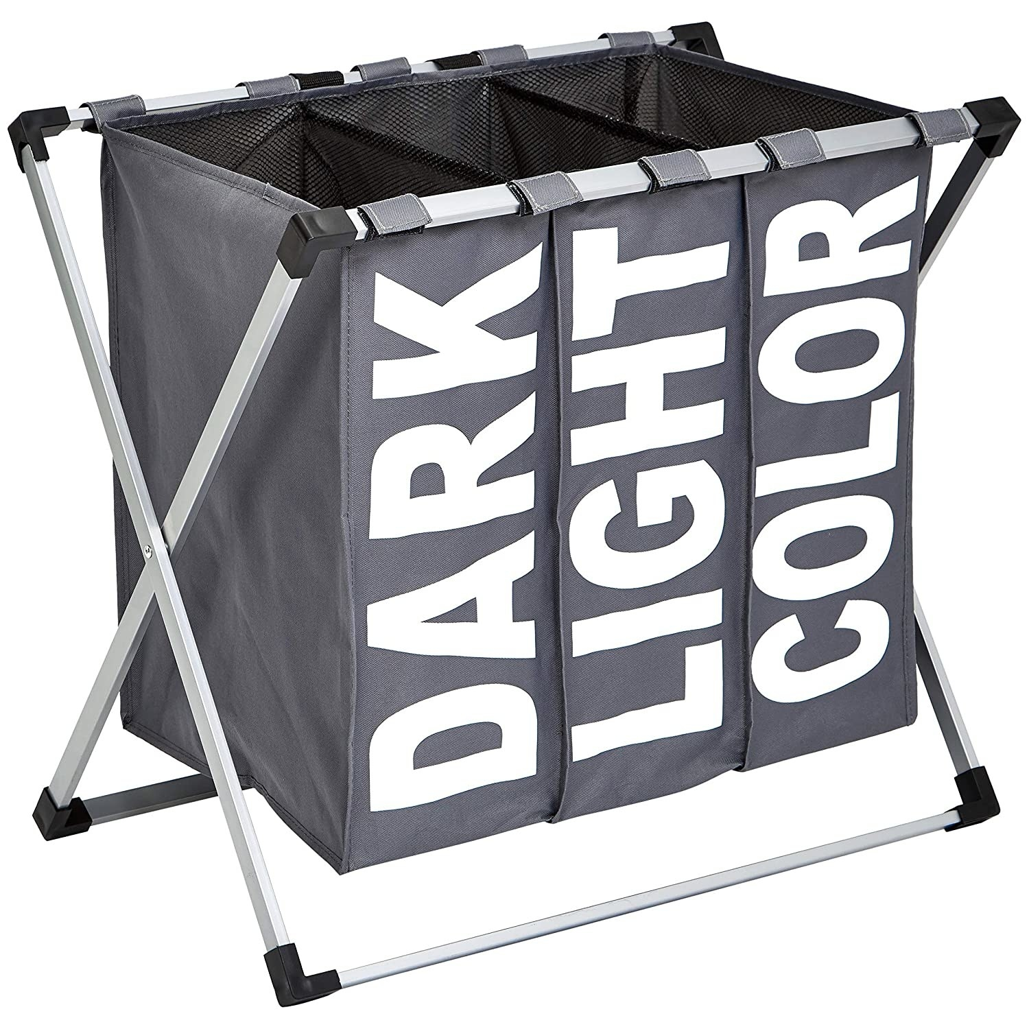 A three-way laundry hamper labelled dark, light and colour.