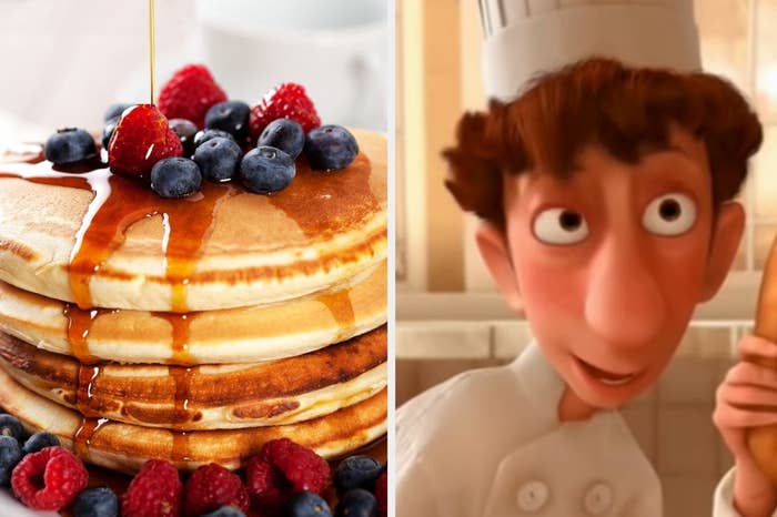 "Fruity syrup covered pancakes and Alfredo from ""Ratatouille"" wearing his cooking outfit"