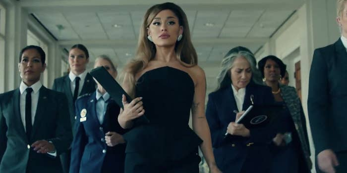 """Ariana Grande as president in the """"Positions"""" music video"""