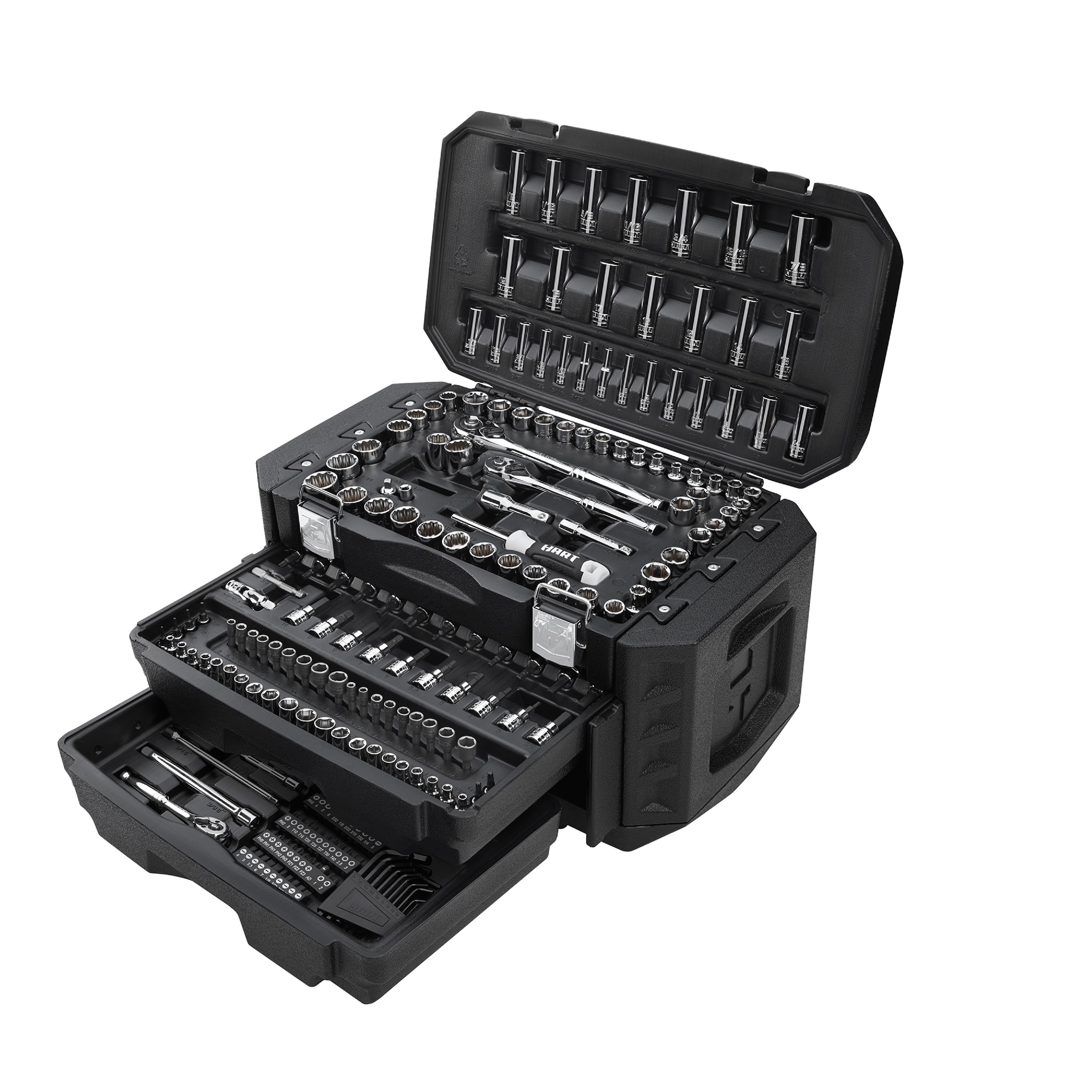 black tool set with 215 pieces
