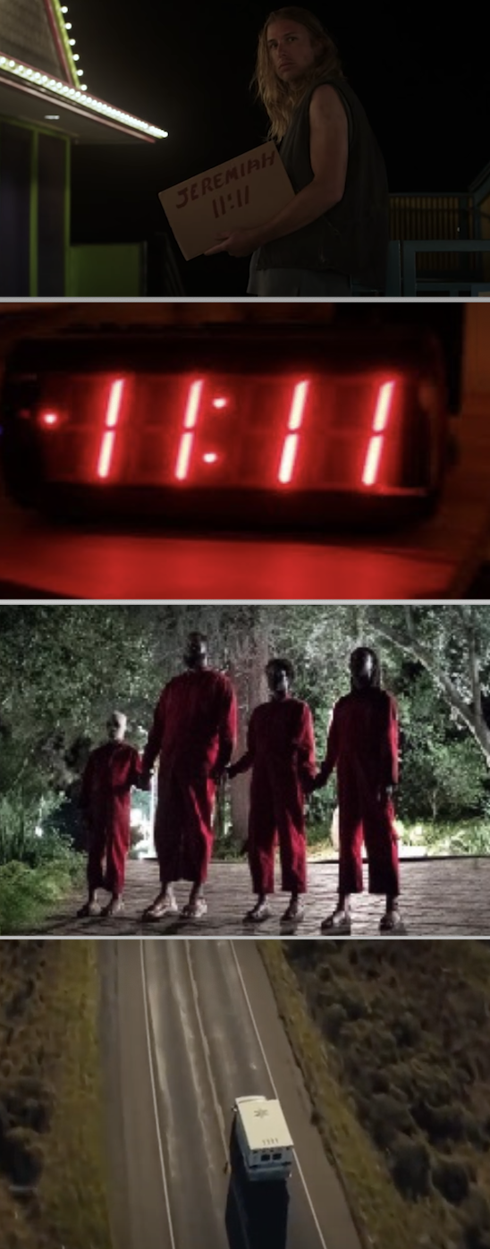 "Several scenes throughout the movie that shows ""11:11,"" from the clock to the number on the ambulance"