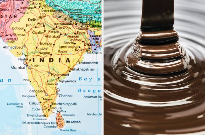 Map of India and pouring chocolate sauce