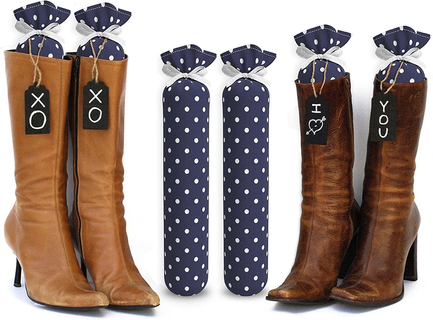 Tall boots with the polka dot stuffers inside holding them up