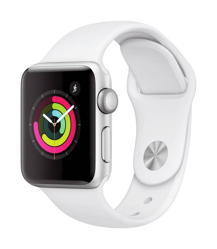 series 3 apple watch with a white sports band