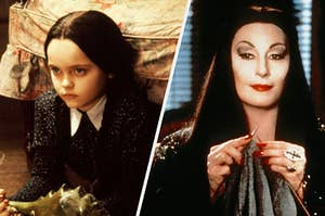image of the addams famiy, on the left is Wednesday and on the right is Morticia Addams