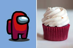 """On the left, an """"Among Us"""" crewmate, and on the right, a chocolate cupcake with vanilla frosting"""