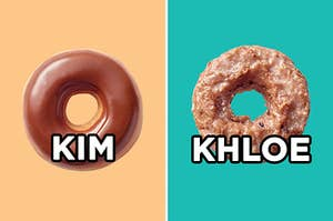 """On the left, a chocolate iced donut labeled """"Kim,"""" and on the right, a blueberry cake donut labeled """"Khloe"""""""