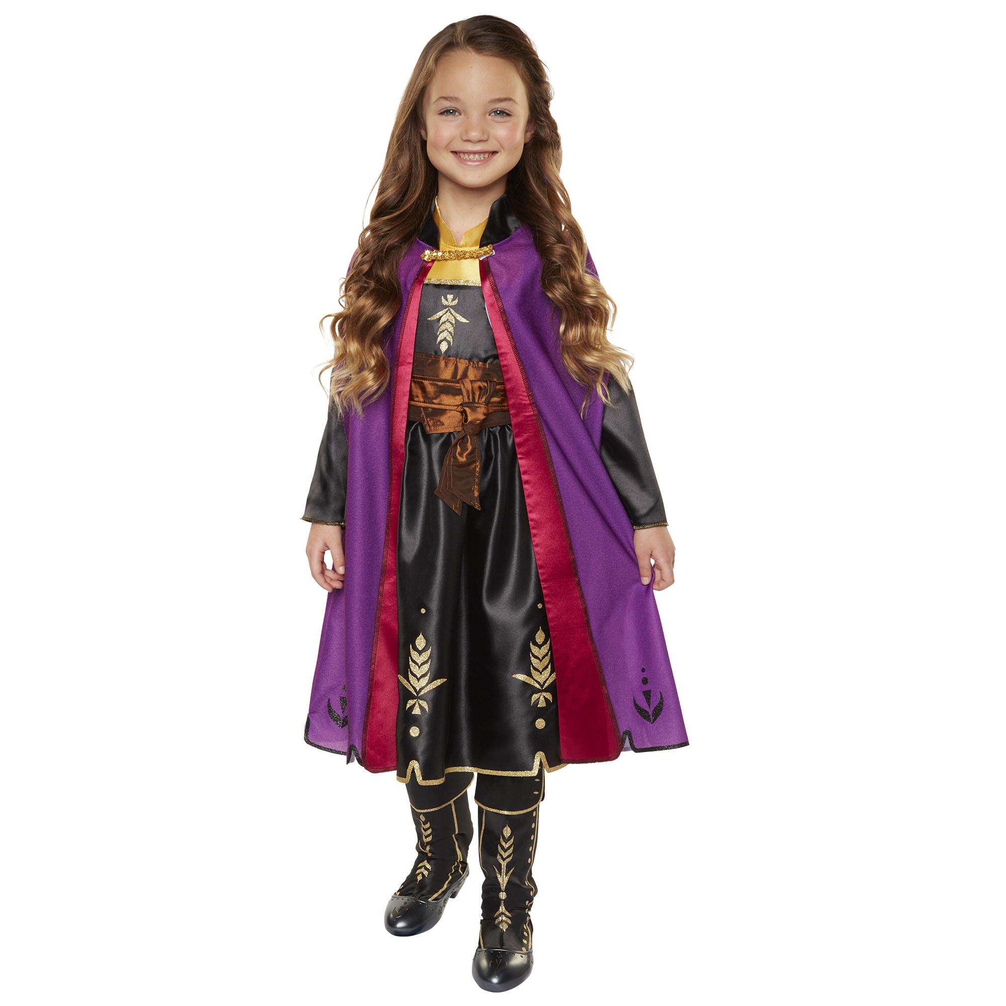 child in a princess anna travel dress