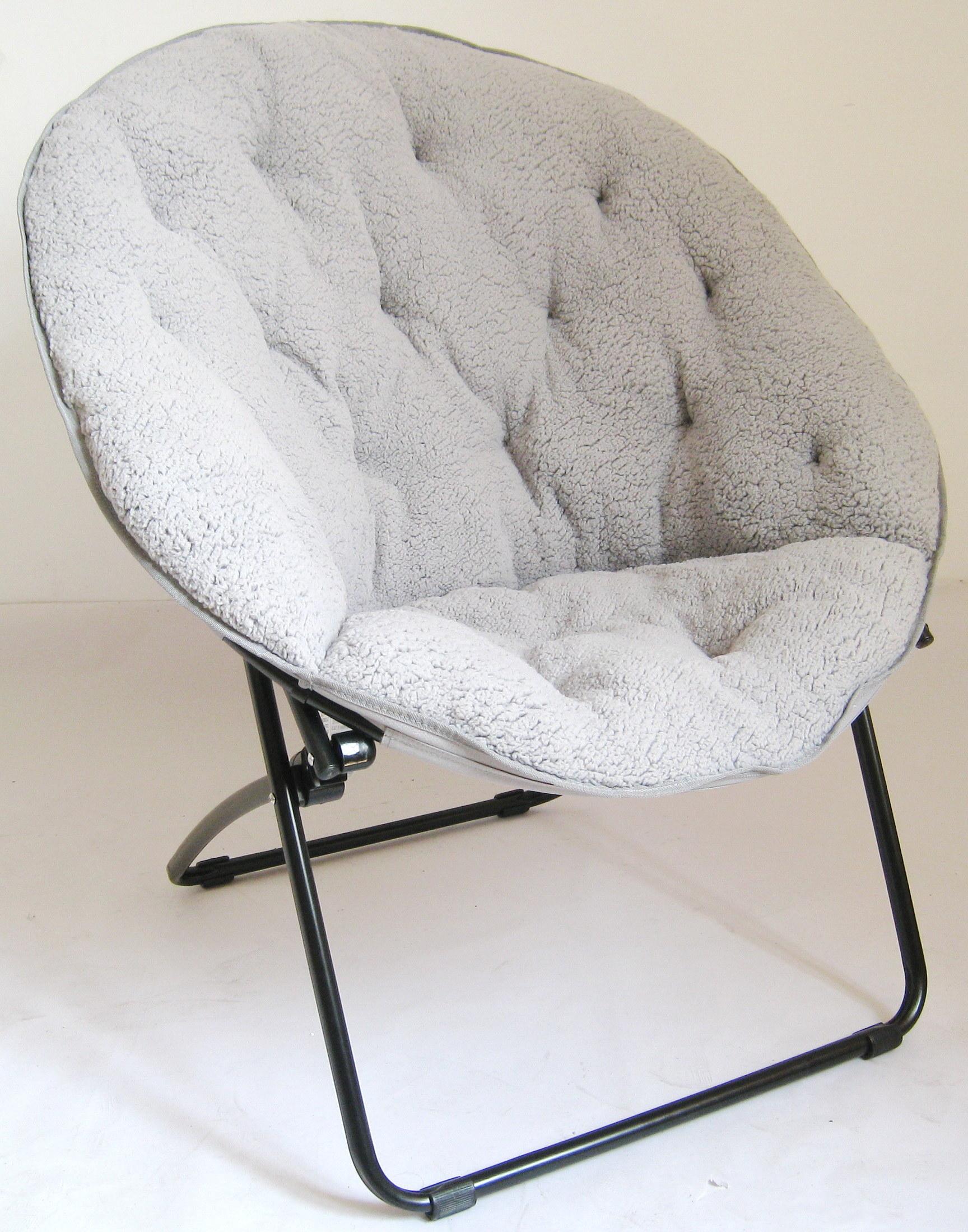 gray sherpa fabric folding moon chair