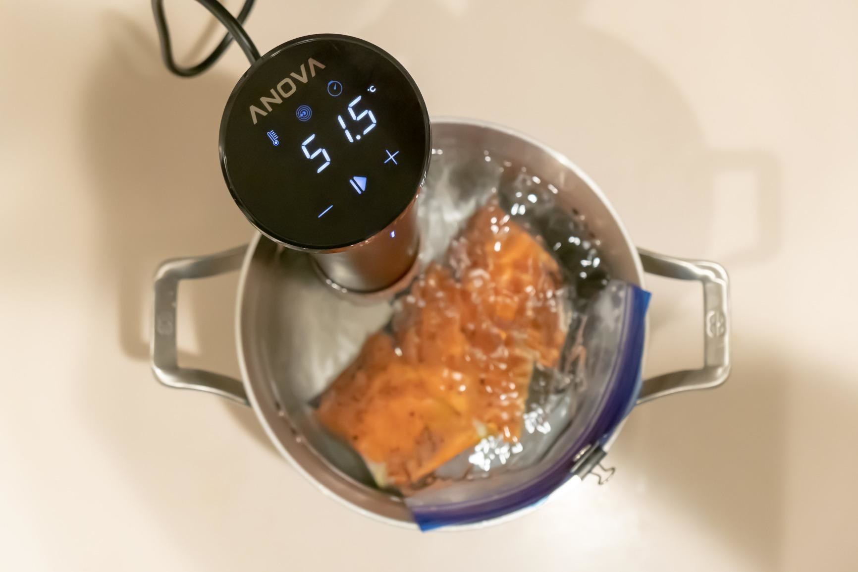 "A sous vide reading ""51.5"" placed into a pot of water with meat"