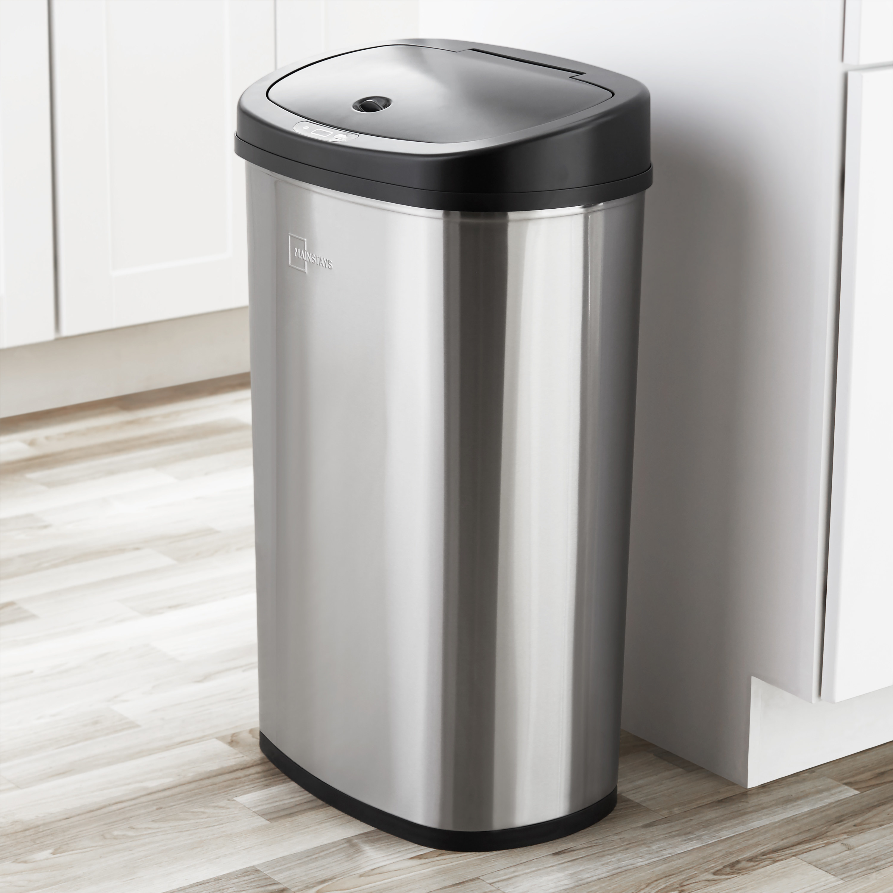 mainstays stainless steel trash can in a kitchen