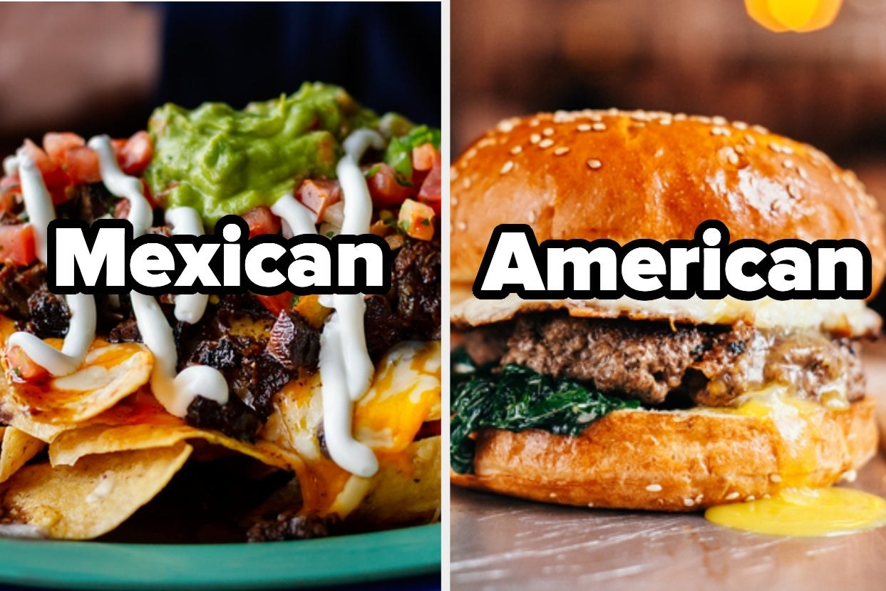 "Nachos with the word ""Mexican"" and hamburger with the word ""American"""