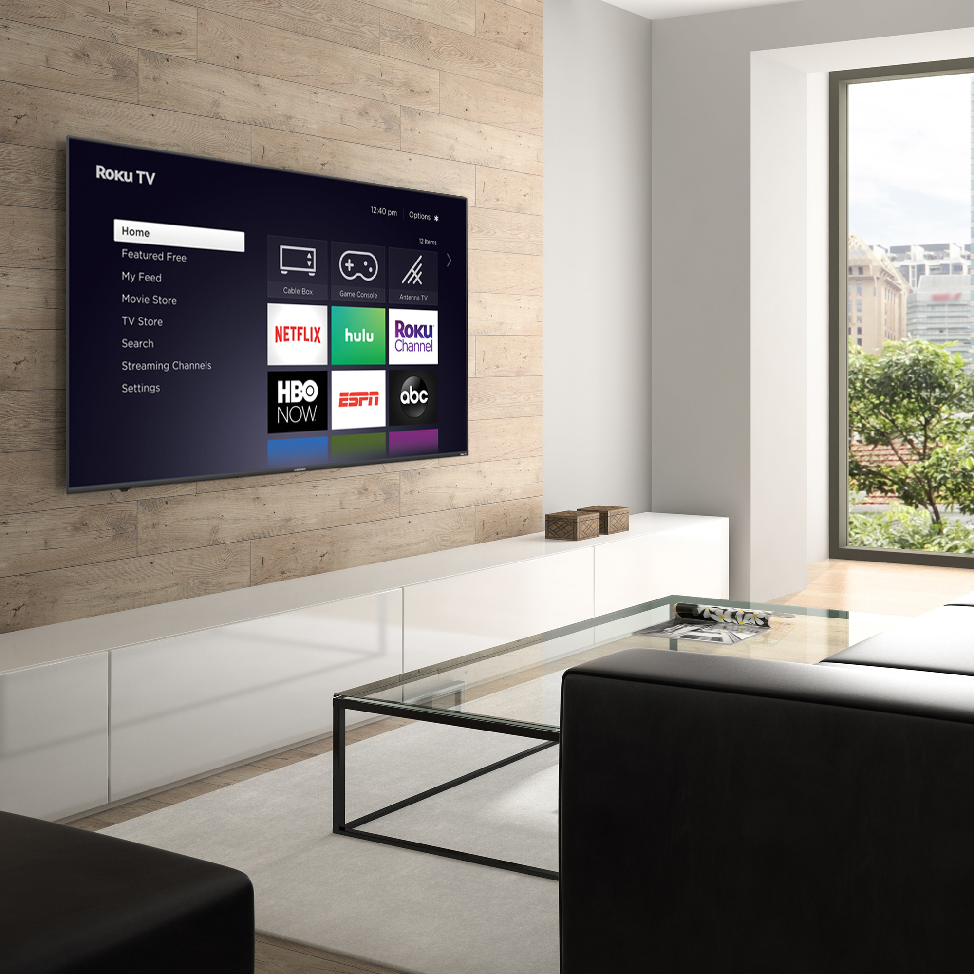 flat screen TV mounted on a wall in a living room