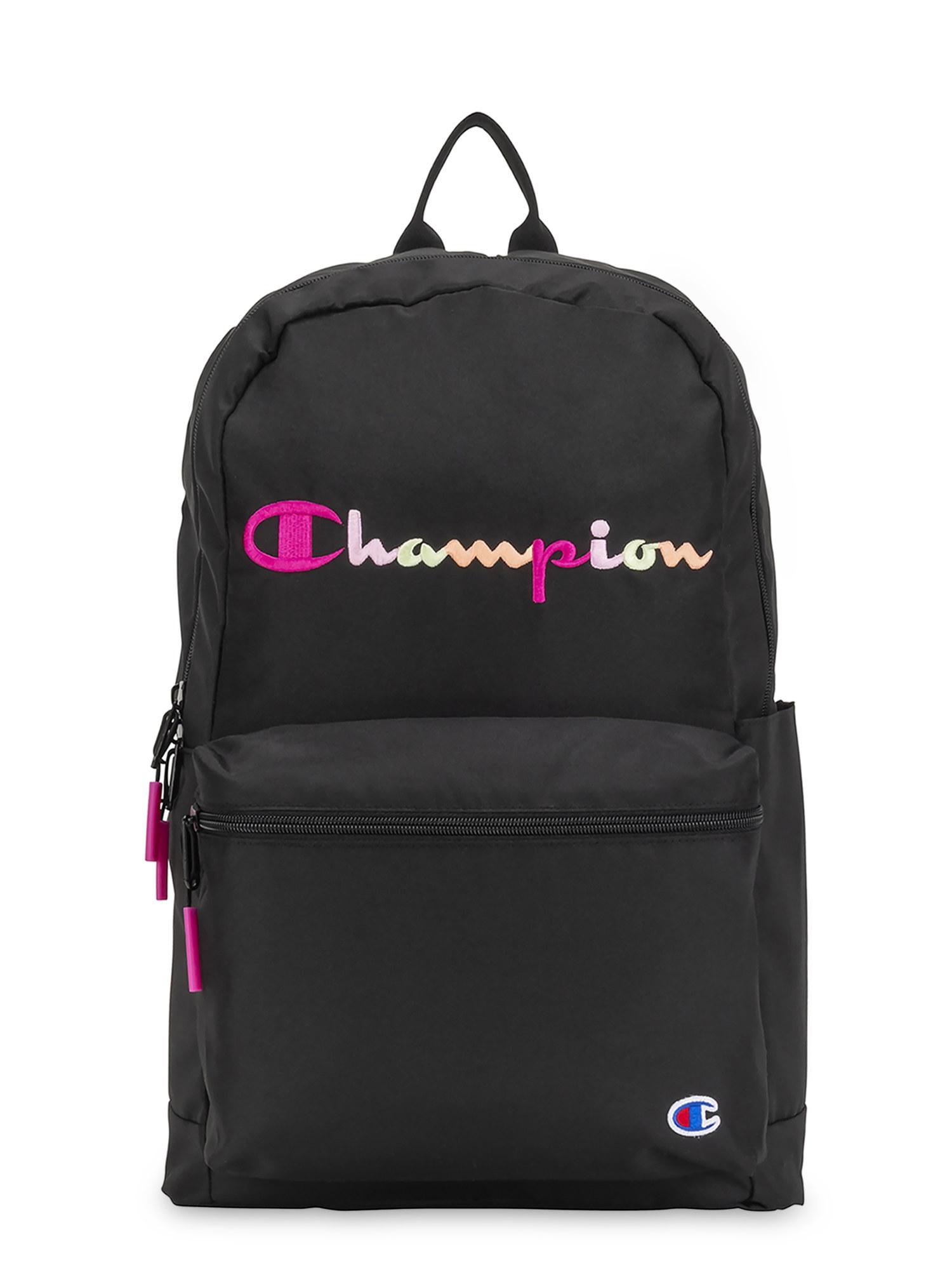black champion backpark with pink details