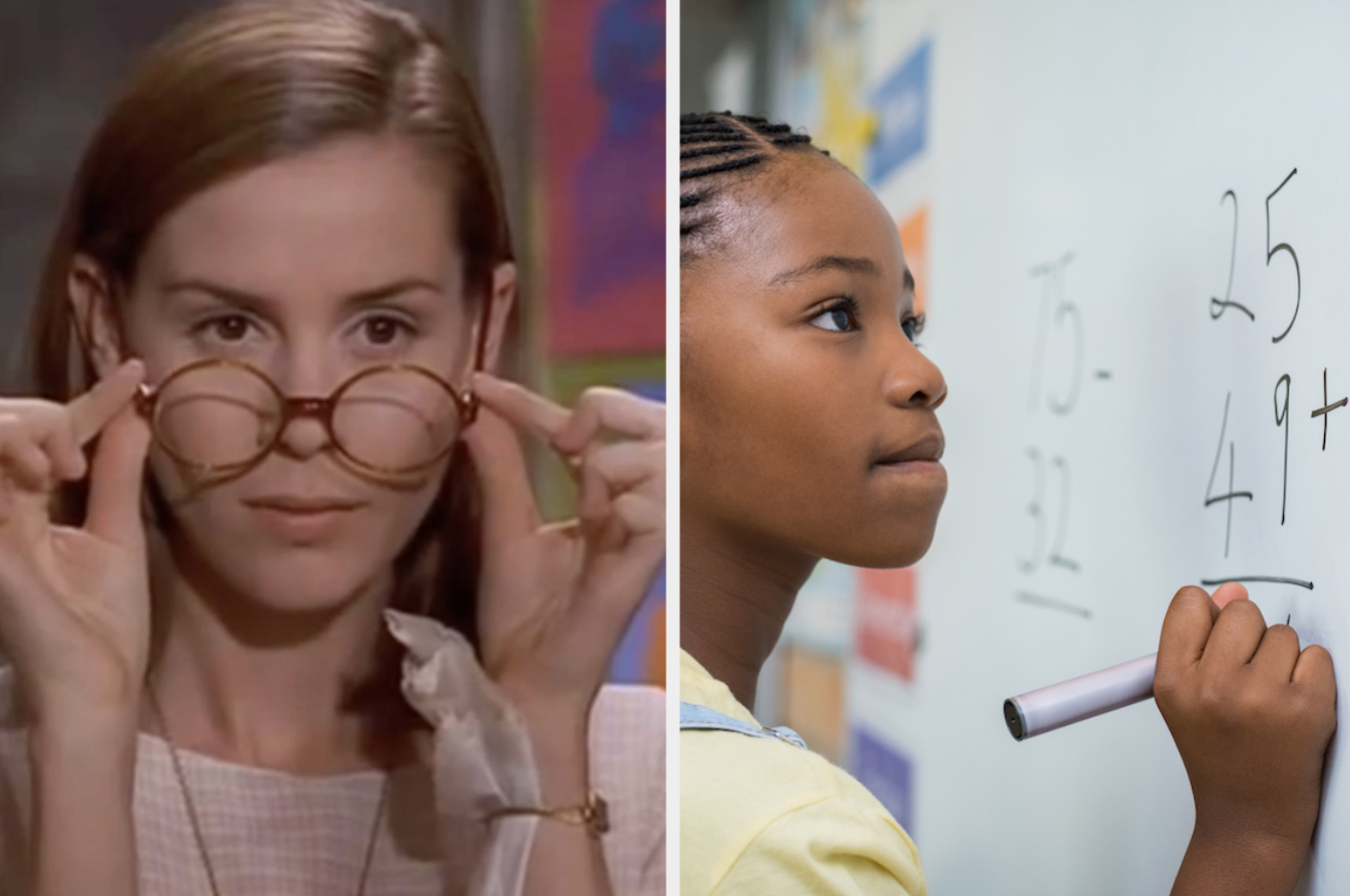 "Ms. Honey from ""Matilda"" and a girl doing a math problem on a white board"