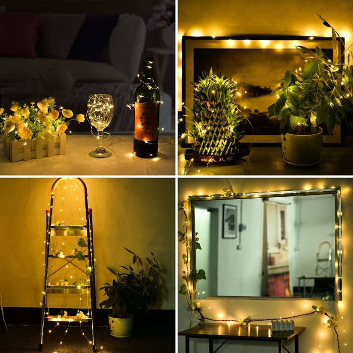 Fairly lights draped on a wine bottle, plants, decorative ladder, and mirror.