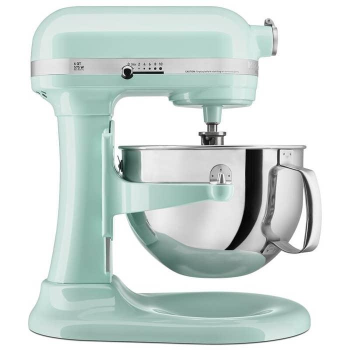 The mint-green Kitchen Aid mixer