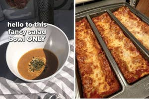 salad bowl and lasagna