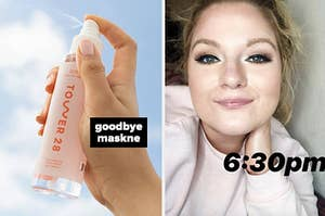 """on left a model holding bottle of facial spray labeled """"goodbye maskne"""" and on right reviewer with eye makeup labeled """"6:30pm"""""""