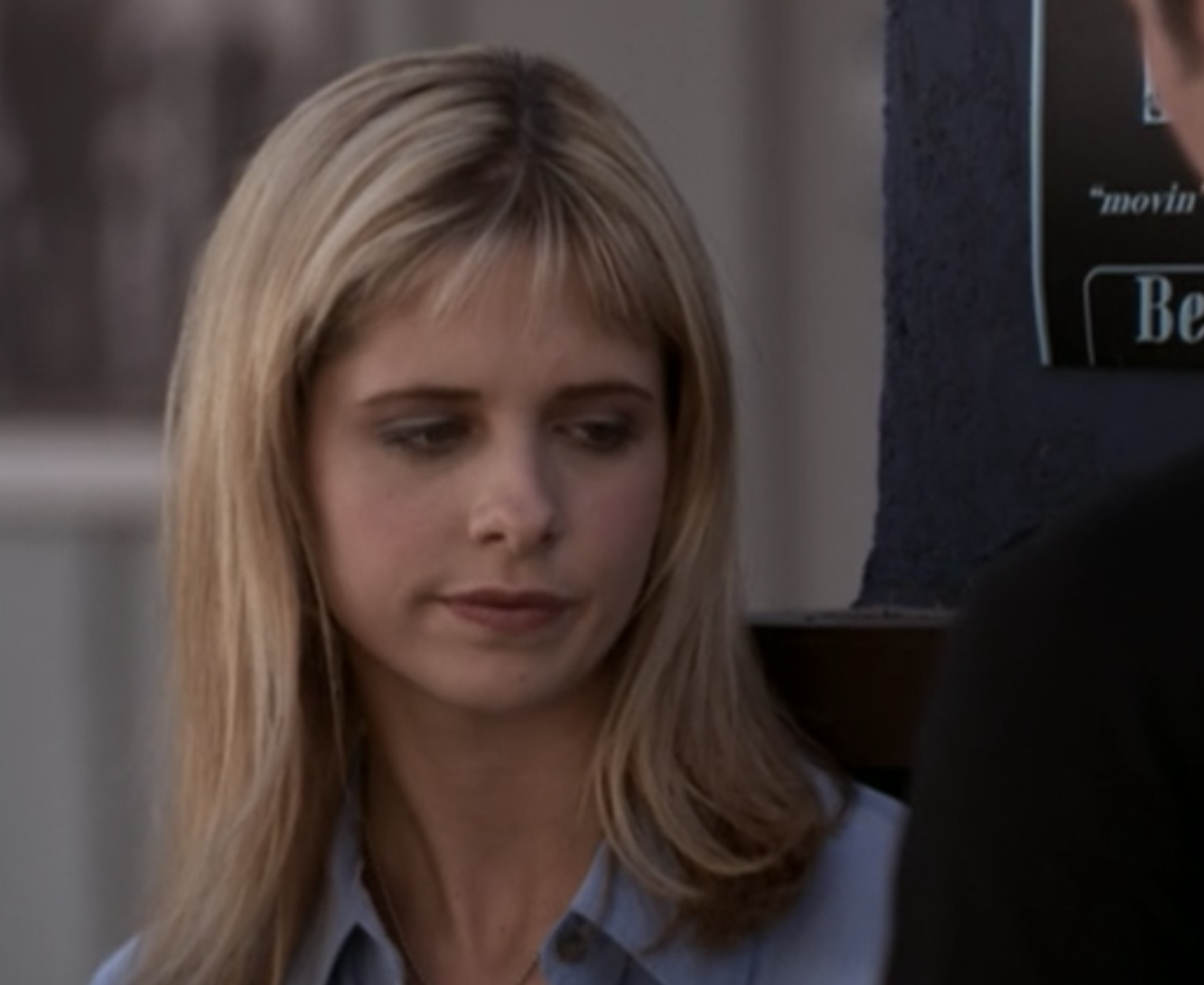 Sarah Michelle Gellar with bangs cut extremely short