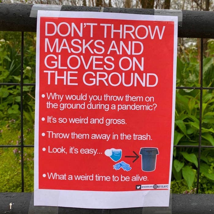 A sign saying it's just really gross to throw your mask on the ground