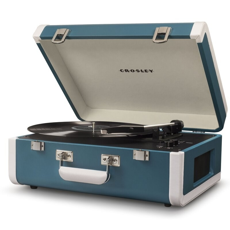 The teal record player