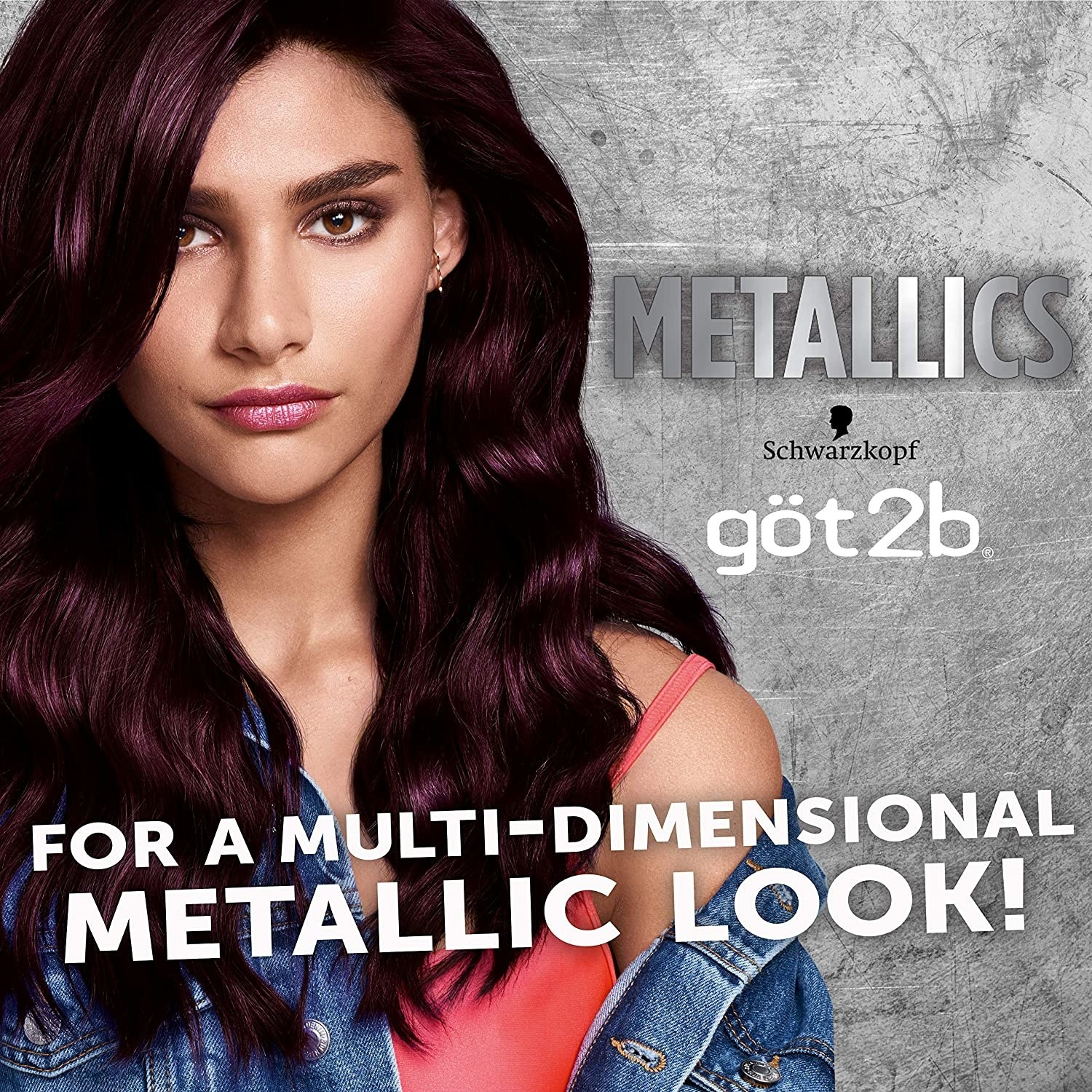 """A model with metallic smoky violet hair and text that reads """"for a multi-dimensional metallic look!"""""""