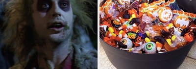Beetlejuice on the left and a basket full of Halloween candy on the right