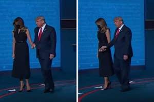 Melania yanking her hand away from Trump