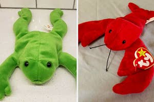 Frog Beanie Baby and Lobster Beanie Baby