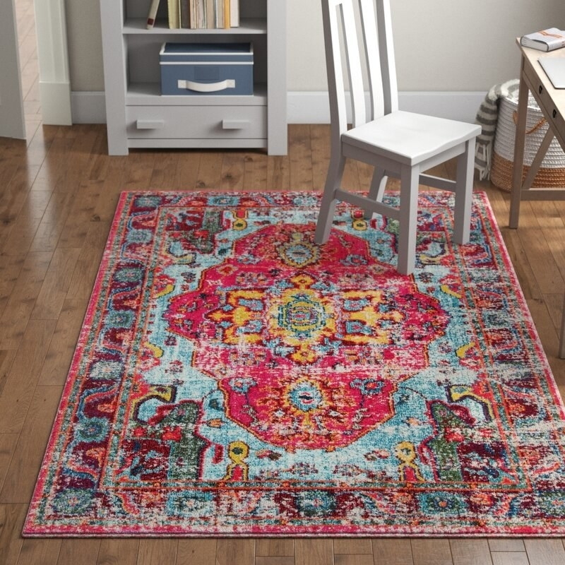 The pink and blue rug