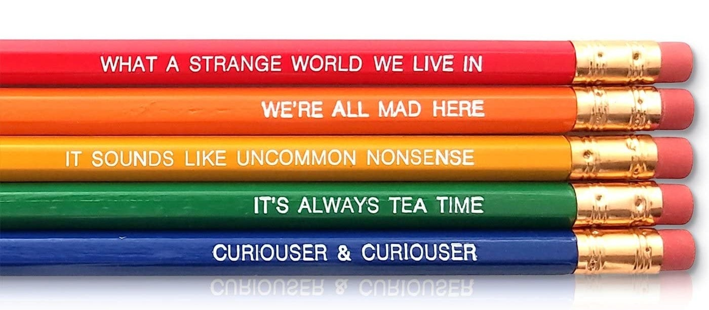"Five colorful pencils with foil print quotes from ""Alice in Wonderland"""